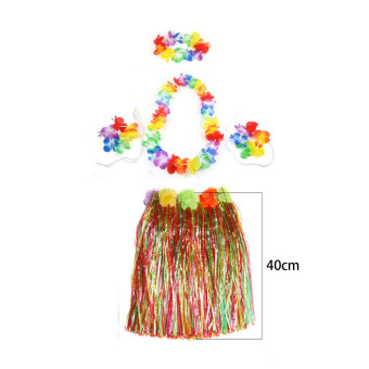 Color Hawaiian Tropical Hula Luau Grass Dancer Skirt & Flower Headband Bracelet and Necklace Set - intl Price Philippines