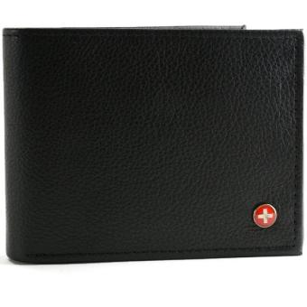 Harga RFID SAFE Alpine Swiss Men's Leather Wallet Hybrid Bifold with Flipout ID Black