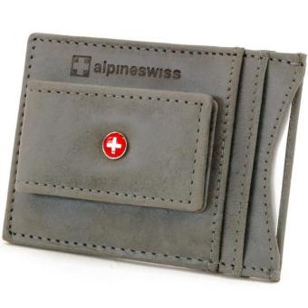 Harga Alpine Swiss Mens Wallet Leather Money Clip Thin Slim Front Pocket Wallet Gray