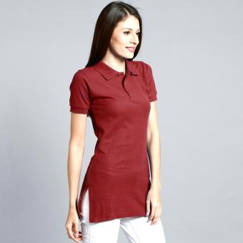 Longline Polo Shirt with Side Slit for Ladies (Maroon) Price Philippines