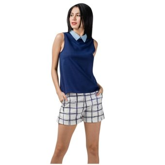 Harga Plains & Prints Kayak Sleeveless Top (Navy)