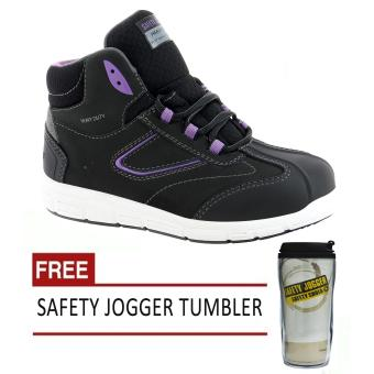 Safety Jogger Beyonce S3 High Cut Women Safety Shoes Footwear Steel Toe (Black/Violet) with Free Safety Jogger Tumbler Price Philippines