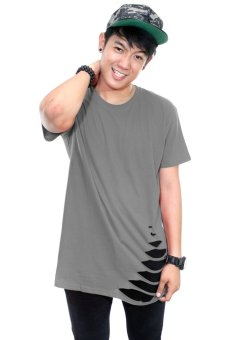 BLKSHP Oversized Softstyle Longline Tee with Distress Hem (Charcoal) Price Philippines