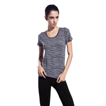 Harga EOZY New Fashion Women Outdoor Sports Soft Ventilated Wear Short Sleeve Round Collar Zebra Stripes Pattern T-shirt Tops Clothes For Jogging Running (Grey) - Intl