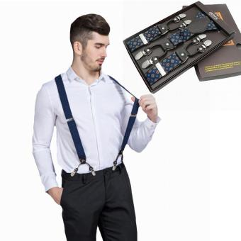 Harga New Fashion Men's Suspenders Belt Strap Adjustable Y Back Braces 6 Clip (Blue) - intl