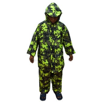 Harga MMC H-909 Water Proof Outdoor Jacket and Pants Rain Coat Camouflage (Neon Green)
