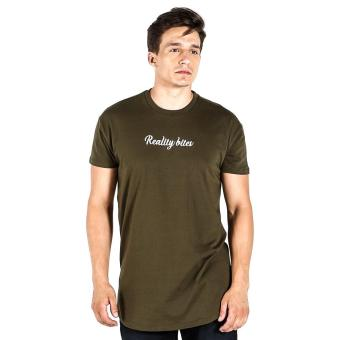 Penshoppe Longline Tee With Embroidery (Olive) Price Philippines