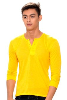 Harga Tex-Cock Long Sleeves Camisa de Chino (Yellow Gold)