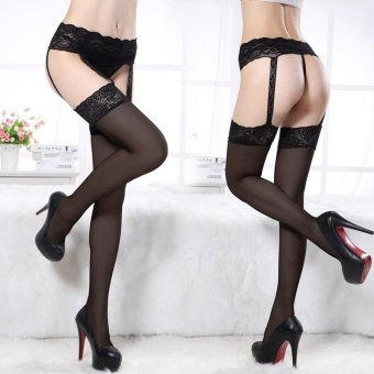 Harga Black Lace Lace Sexy Stockings Enchanting Lace Silk Stockings - intl