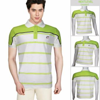 Harga 776 NEXTLEVEL Classic Performance Short Sleeve Stripe Polo Shirt (SMALL)(White-StripeYellowGreen)