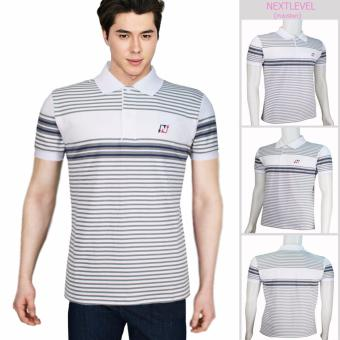 Harga 7824 NEXTLEVEL Classic Performance Short Sleeve Stripe Polo Shirt (EXTRA-LARGE)(White-SmallStripeDarkGray)