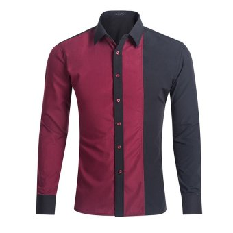 Harga HIigh Quality Men Shirt Long Sleeve Men Casual Male Fashion Spell Color Chemise Mens Dress Shirts 2XL(Wine red) - intl