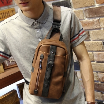 Leisure Chest Pack Crazy Horse Male Package Man SATCHEL BAG Sling Bag (Coffee) Price Philippines