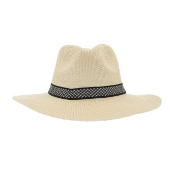 Harga EOZY Fashion Men Women Summer Beach Panama Straw Hats Fedora Trilby Caps Sunhats Wide Brim Hats (Beige)
