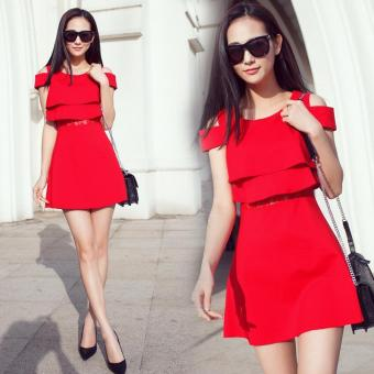 Harga Korean Version of Tunic Temperament Off The Shoulder Dresses (Red) - intl