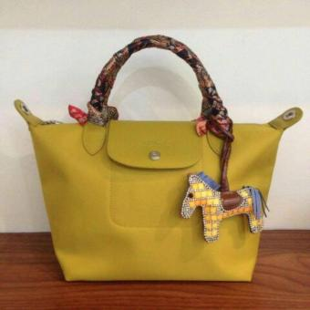 Harga LC Long Le Pliage Champ Neo Small Free Twilly & Charm Original (MUSTARD YELLOW) Made in France SHORT HANDLE