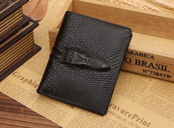 embossment genuine leather men Wallet -Brown cross-section - Intl Price Philippines