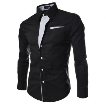 Harga Moonar Men Fashion Formal Casual Style Long-Sleeve Pocket Slim Shirt (Black)