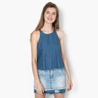 Harga True Love Chambray Raw Hem Sleeveless Top (Blue)