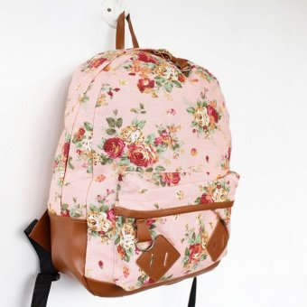 Harga FOB Floral Backpack Light Old Rose