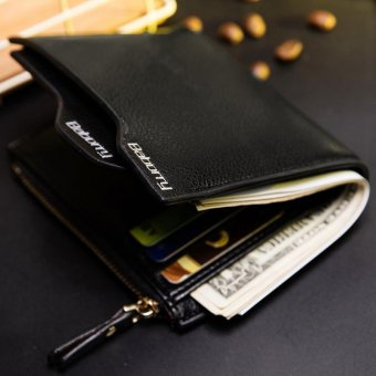 Harga New Men Short Wallet Top RFID Antimagnetic Anti RFID Men's Zipper Wallet - Black - intl