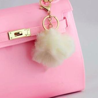 Harga Fur Charm Ball Charm Bag Accessory (Cream)