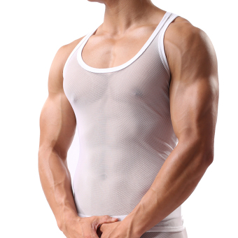 Harga EOZY Man's Transparent Thin Gauze Mesh Breathable Vest Male Tight Sexy Translucent Tops Summer Sheer Shirt Sleeveless (White) - Intl