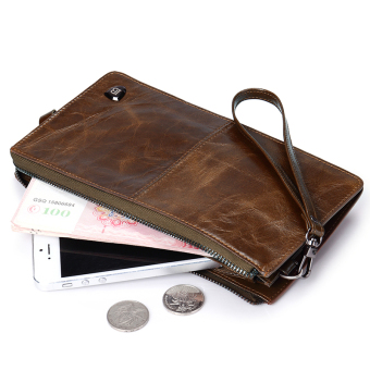 Bostanten Mens Genuine Cowhide Leather Long Wallet Coffee + Free Leather Keychain Price Philippines