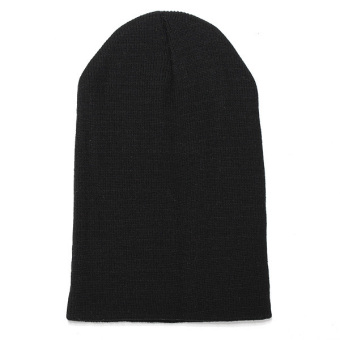 Harga Unisex Knitted Plain Beanie Hiphop Cap Skull Cuff Winter Hat Crochet Solid Color black
