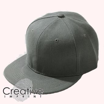 Harga Creative Imprint Plain SnapBack HipHop Fashion Flat Brim Cap (Dark Grey)