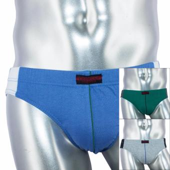 Austin 3pc Low Rise Cotton Stretch Bikini Brief DSN# 9936-1 by Le Brian (Gray-Blue-Military Green) Price Philippines