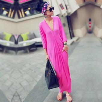 Women's Lovely Pink V-Neck Maxi Dress Price Philippines