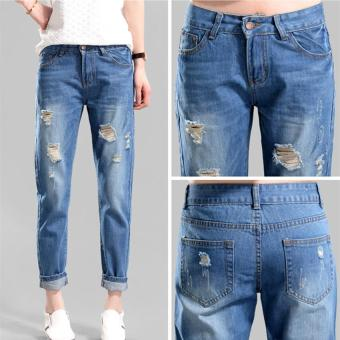 Harga Summer Girl Retro Style High Waist Loose Jeans Fashion Hole Denim Cotton Boy-Friend Jeans Woman Ninth Pencil Jeans - intl