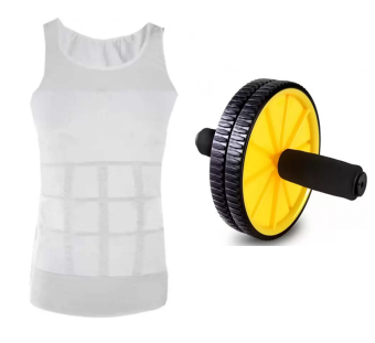 Slim n Lift Slimming Vest for Men(M/L)With AB Wheel Total Body Exerciser (Yelllow) Price Philippines