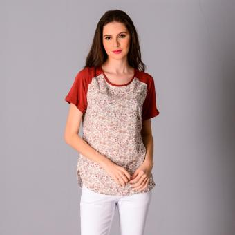 Harga Redgirl Quarter Sleeves Woven Blouse RLT04-3076 (O.White/Cowhide)