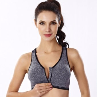 Harga Treeco Fitness Front Zipper Sports Bra (Black)