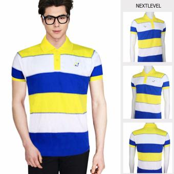 Harga 7781 NEXTLEVEL Classic Performance Short Sleeve Stripe Polo Shirt (EXTRA-LARGE)(White-Yellow/Blue)