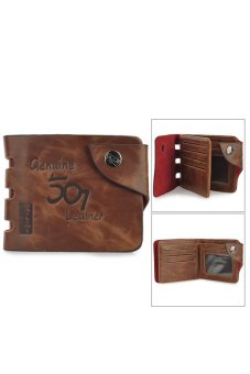 Casual Folding Split Leather Wallet for Men Coffee Price Philippines