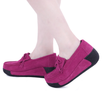 Harga Bowknot Suede Comfortable Wedge Shoes(Rose Madder) - intl
