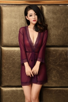 Harga Sexy Nightgowns And Robe For Women Nightie with G-String Robe Transparent Bathrobe (Purple) - intl