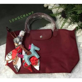 Harga LC Long Le Pliage Champ Neo Medium Free Twilly & Charm Original (MAROON) Made in France SHORT HANDLE