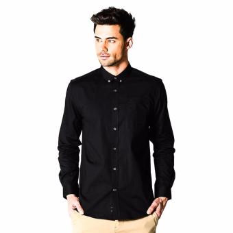 Harga Memo Basic Stretch Solid Long Sleeve Shirt With Tonal Owl Embro (Black)