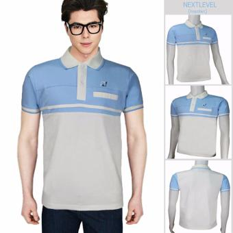 Harga 7765 NEXTLEVEL Classic Performance Short Sleeve Stripe Polo Shirt (MEDIUM)(White-BabyBlue)