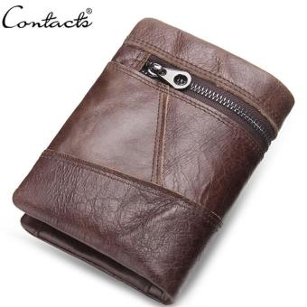 CONTACT'S Men Wallets Leather Trifold Short Design Purse Card Holder Mens Wallet - intl Price Philippines