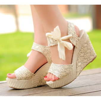 Harga Sexy Lace Shoes Peep Toe Wedge Womens Platform High Heel Pump