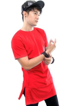 Harga BLKSHP Super Longline Tee with Side Splits Zipper in Solid Colors (Red)