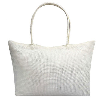Simple Candy Color Large Straw Beach Bags Women Casual Shoulder Bag White - intl Price Philippines