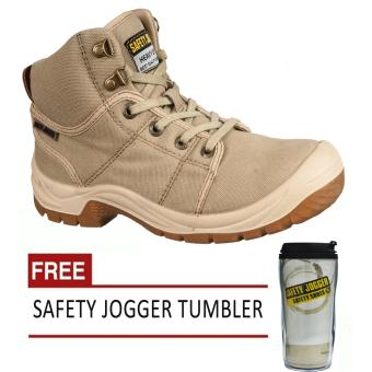 Safety Jogger Desert S1P High Cut Men Safety Shoes Footwear Steel Toe (Sand/Brown) with Free Safety Jogger Tumbler Price Philippines