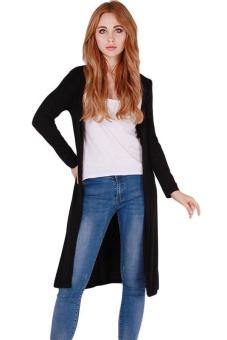 Hang-Qiao Sexy Long Outwear Cardigan Long Coat Knitwear Black Price Philippines