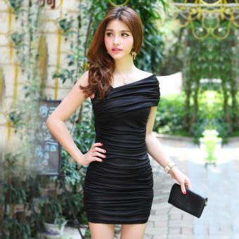 Harga One Shoulder Short Sleeve Bodycon Dress